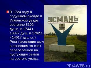 В 1724 году в подушном окладе в Усманском уезде состояло 5302 души, в 1744 г. -