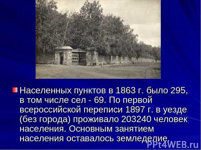 Населенных пунктов в 1863 г. было 295, в том числе сел - 69. По первой всероссийской переписи 1897 г. в уезде (без города) проживало 203240 человек населения. Основным занятием населения оставалось земледелие.