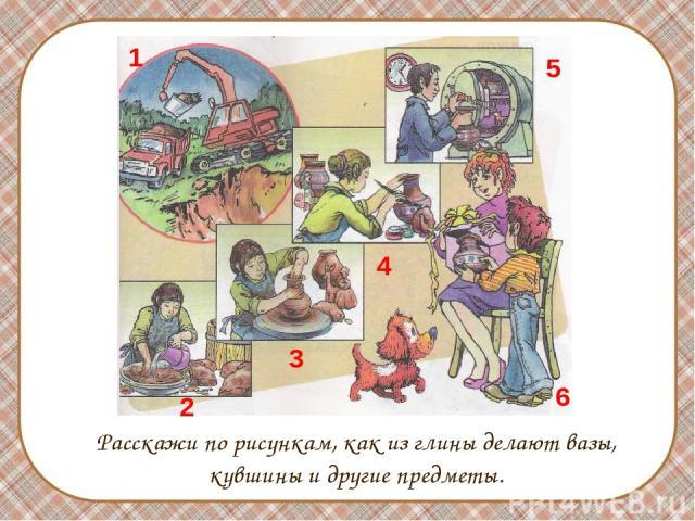 Расскажи по рисункам, как из глины делают вазы, кувшины и другие предметы. 1 2 3 4 5 6