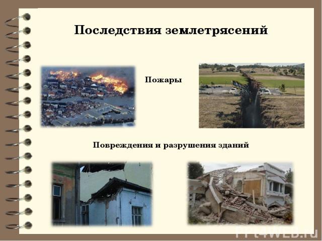 Последствия землетрясений Пожары Повреждения и разрушения зданий