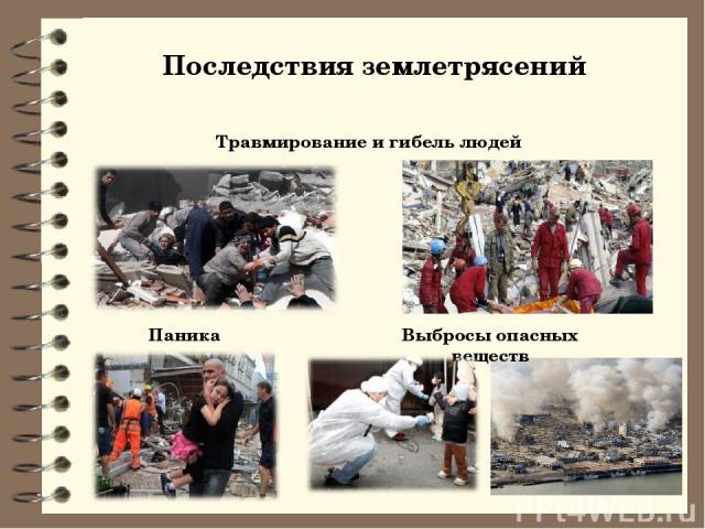 Последствия землетрясений Травмирование и гибель людей Паника Выбросы опасных веществ