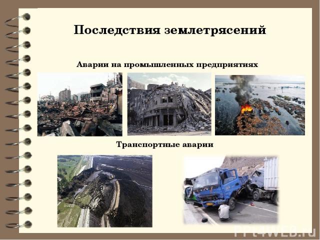 Последствия землетрясений Аварии на промышленных предприятиях Транспортные аварии