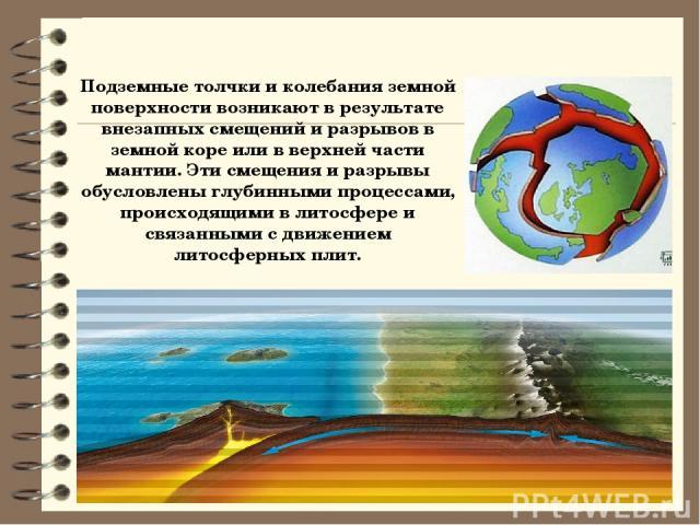 Подземные толчки и колебания земной поверхности возникают в результате внезапных смещений и разрывов в земной коре или в верхней части мантии. Эти смещения и разрывы обусловлены глубинными процессами, происходящими в литосфере и связанными с движени…