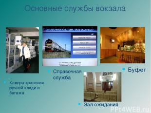 Основные службы вокзала Справочная служба Зал ожидания Камера хранения ручной кл