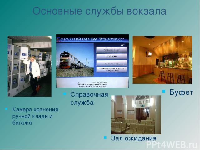 Основные службы вокзала Справочная служба Зал ожидания Камера хранения ручной клади и багажа Буфет