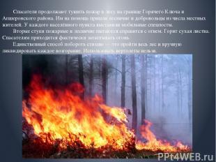 Спасатели продолжают тушить пожар в лесу на границе Горячего Ключа и Апшеронског