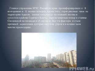 Главное управление МЧС России по краю проинформировало о 8 возгораниях и 1