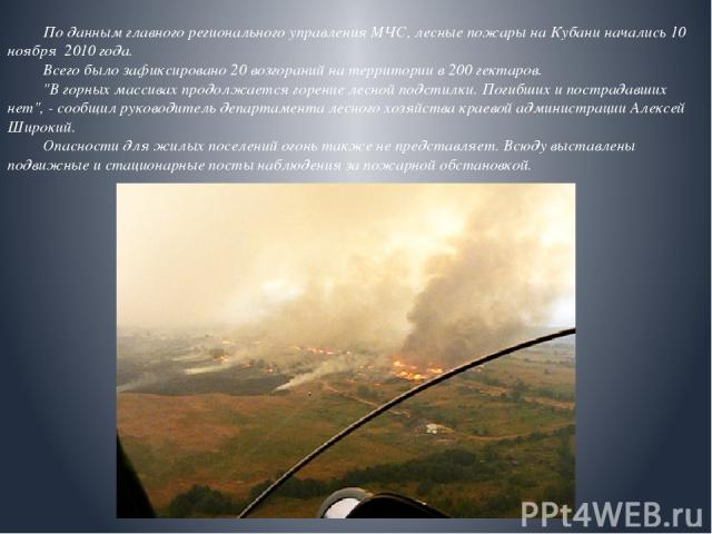 По данным главного регионального управления МЧС, лесные пожары на Кубани начались 10 ноября 2010 года. Всего было зафиксировано 20 возгораний на территории в 200 гектаров.