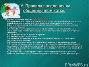 IV. Правила поведения на общественном катке. Во время нахождения на катке ЗАПРЕЩ