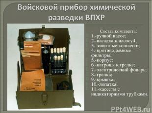 Состав комплекта: 1.-ручной насос; 2.-насадка к насосу4; 3.-защитные колпачки; 4