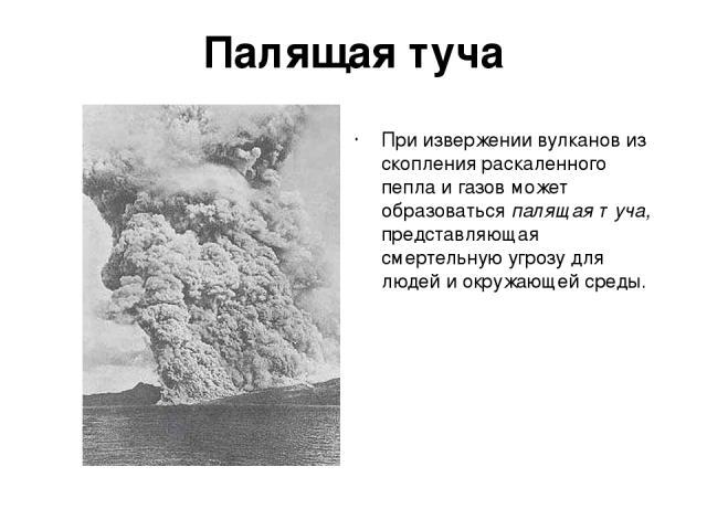 Палящая туча При извержении вулканов из скопления раскаленного пепла и газов может образоваться палящая туча, представляющая смертельную угрозу для людей и окружающей среды.