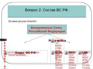 Вид Вооруженных сил РФ - это часть Вооруженных сил государства, отличающаяся осо
