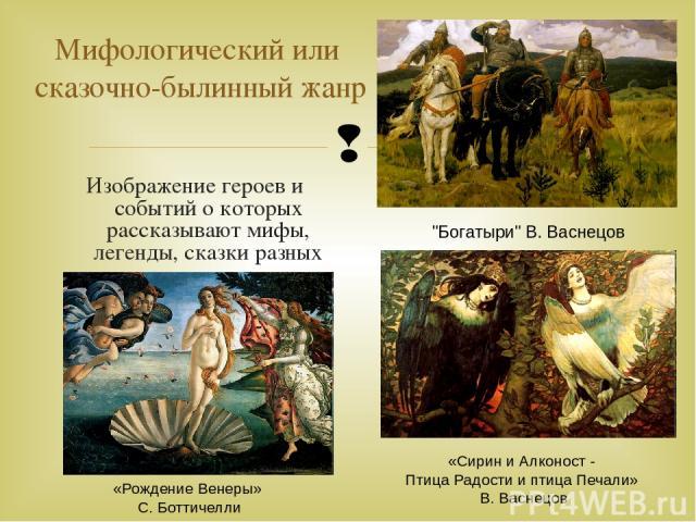 Изображение героев и событий о которых рассказывают мифы, легенды, сказки разных народов Мифологический или сказочно-былинный жанр