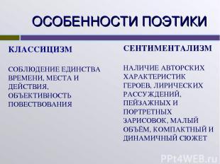 ОСОБЕННОСТИ ПОЭТИКИ КЛАССИЦИЗМ СОБЛЮДЕНИЕ ЕДИНСТВА ВРЕМЕНИ, МЕСТА И ДЕЙСТВИЯ, ОБ