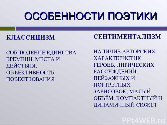 ОСОБЕННОСТИ ПОЭТИКИ КЛАССИЦИЗМ СОБЛЮДЕНИЕ ЕДИНСТВА ВРЕМЕНИ, МЕСТА И ДЕЙСТВИЯ, ОБЪЕКТИВНОСТЬ ПОВЕСТВОВАНИЯ СЕНТИМЕНТАЛИЗМ НАЛИЧИЕ АВТОРСКИХ ХАРАКТЕРИСТИК ГЕРОЕВ, ЛИРИЧЕСКИХ РАССУЖДЕНИЙ, ПЕЙЗАЖНЫХ И ПОРТРЕТНЫХ ЗАРИСОВОК, МАЛЫЙ ОБЪЁМ, КОМПАКТНЫЙ И ДИНА…