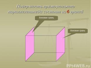 Поверхность прямоугольного параллелепипеда состоит из 6 граней боковая грань бок