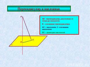 Перпендикуляр и наклонная. А В С АВ - перпендикуляр, расстояние от точки до плос