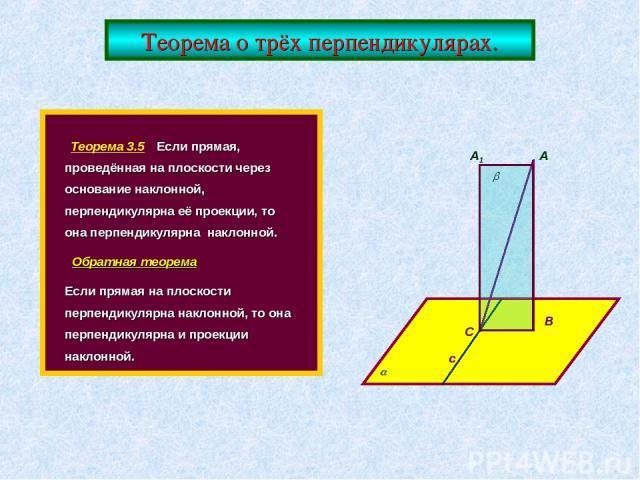 Теорема о трёх перпендикулярах. Теорема 3.5 Если прямая, проведённая на плоскости через основание наклонной, перпендикулярна её проекции, то она перпендикулярна наклонной. Обратная теорема Если прямая на плоскости перпендикулярна наклонной, то она п…
