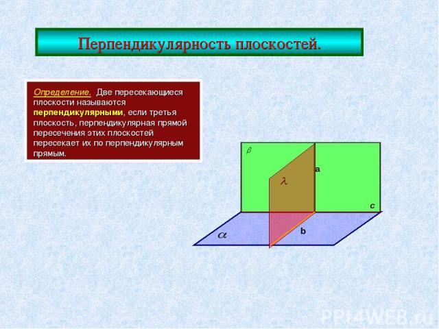 Перпендикулярность плоскостей. Определение. Две пересекающиеся плоскости называются перпендикулярными, если третья плоскость, перпендикулярная прямой пересечения этих плоскостей пересекает их по перпендикулярным прямым. с a b