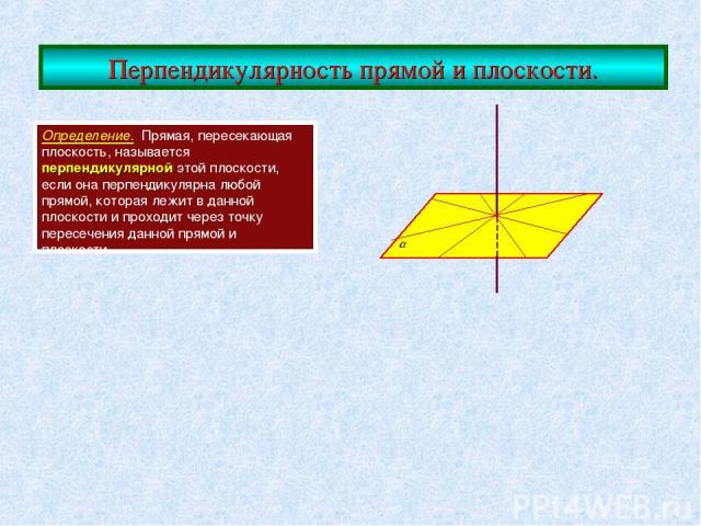 Перпендикулярность прямой и плоскости. Определение. Прямая, пересекающая плоскость, называется перпендикулярной этой плоскости, если она перпендикулярна любой прямой, которая лежит в данной плоскости и проходит через точку пересечения данной прямой …
