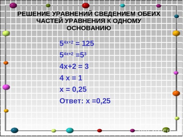54x+2 = 125 54x+2 =53 4x+2 = 3 4 x = 1 x = 0,25 Ответ: x =0,25 РЕШЕНИЕ УРАВНЕНИЙ СВЕДЕНИЕМ ОБЕИХ ЧАСТЕЙ УРАВНЕНИЯ К ОДНОМУ ОСНОВАНИЮ