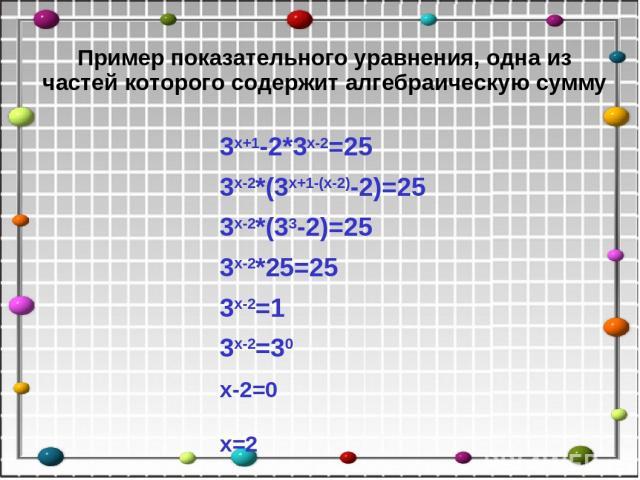 Пример показательного уравнения, одна из частей которого содержит алгебраическую сумму 3х+1-2*3х-2=25 3х-2*(3х+1-(х-2)-2)=25 3х-2*(33-2)=25 3х-2*25=25 3х-2=1 3х-2=30 х-2=0 х=2