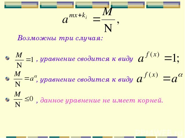 Возможны три случая: , уравнение сводится к виду , уравнение сводится к виду , данное уравнение не имеет корней.