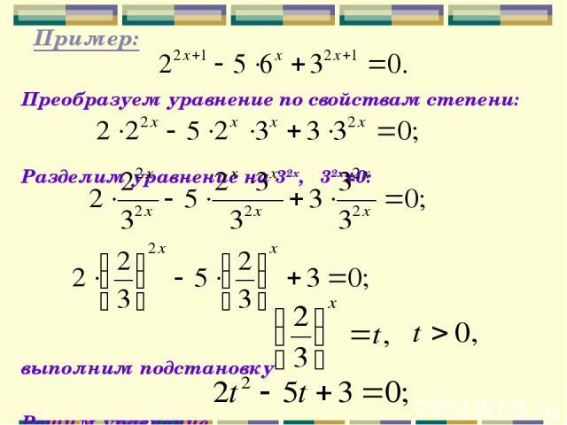 Пример: Преобразуем уравнение по свойствам степени: Разделим уравнение на 32х, 32х≠0: выполним подстановку Решим уравнение