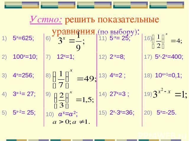 Устно: решить показательные уравнения (по выбору): 5х=625; 5-х= 25; 100х=10; 12х=1; 2-х=8; 5х∙2х=400; 4х=256; 4х=2 ; 10х+1=0,1; 3х-1= 27; 27х=3 ; 5х-2= 25; ах=а2; 2х∙3х=36; 5х=-25.