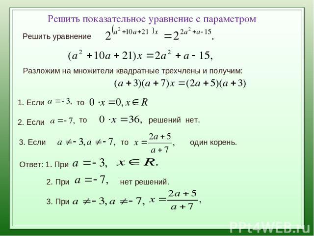 Решить показательное уравнение с параметром Решить уравнение Разложим на множители квадратные трехчлены и получим: 1. Если то 2. Если то решений нет. 3. Если то один корень. Ответ: 1. При 2. При нет решений. 3. При