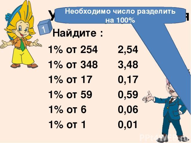 Нахождение процента от числа Нахождение числа по его процентам Нахождение процентного отношения