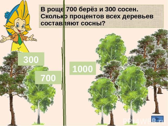 В роще 700 берёз и 300 сосен. Сколько процентов всех деревьев составляют сосны? 300 700 30% 300 д 1000 д 300 д 100% ? % _ 1000 д 100% : · _