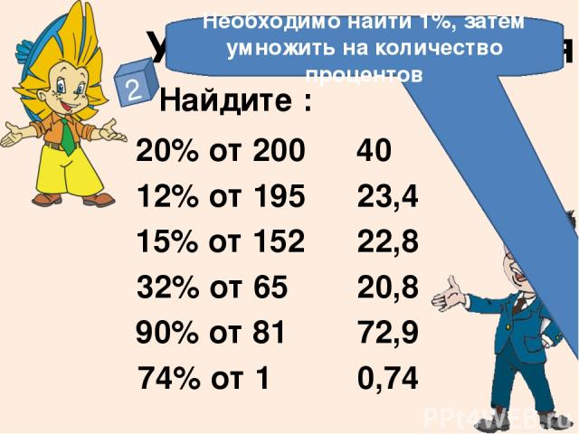 Устные упражнения 2 Найдите : 20% от 200 12% от 195 15% от 152 32% от 65 90% от 81 74% от 1 40 23,4 22,8 20,8 72,9 0,74 Необходимо найти 1%, затем умножить на количество процентов На слайде отстроен триггер. Чтобы увидеть правильный ответ – нажмите …