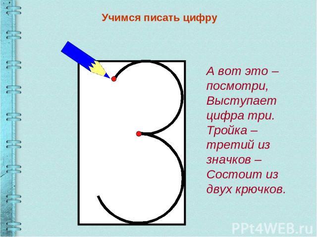 Учимся писать цифру А вот это – посмотри, Выступает цифра три. Тройка – третий из значков – Состоит из двух крючков.