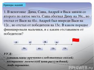 Примеры заданий 1. В велогонке Дима, Саша, Андрей и Вася заняли со второго по пя