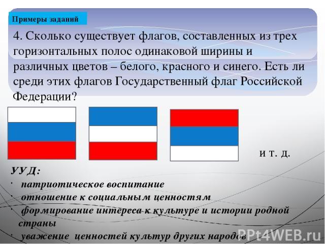 Примеры заданий 4. Сколько существует флагов, составленных из трех горизонтальных полос одинаковой ширины и различных цветов – белого, красного и синего. Есть ли среди этих флагов Государственный флаг Российской Федерации? УУД: патриотическое воспит…