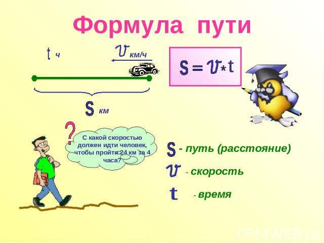 Формула пути км км/ч ч - путь (расстояние) - скорость - время С какой скоростью должен идти человек, чтобы пройти 24 км за 4 часа?