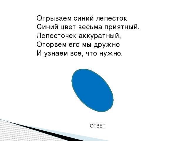 ОТВЕТ Отрываем синий лепесток Синий цвет весьма приятный, Лепесточек аккуратный, Оторвем его мы дружно И узнаем все, что нужно.