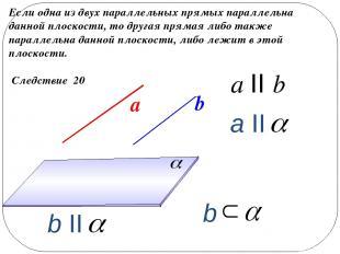 Следствие 20 Если одна из двух параллельных прямых параллельна данной плоскости,