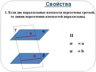 Свойства 1. Если две параллельные плоскости пересечены третьей, то линии пересеч