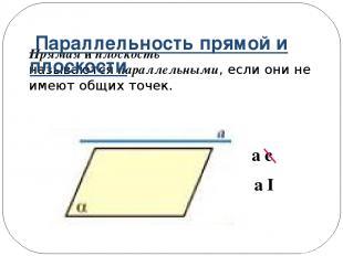 Прямая и плоскость называютсяпараллельными, если они не имеют общих точек. a є