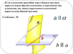 Следствие 10 Если плоскость проходит через данную прямую, параллельную другой пл