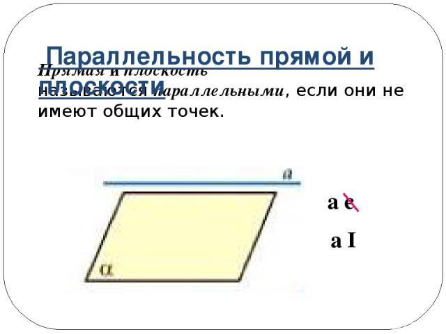 Прямая и плоскость называютсяпараллельными, если они не имеют общих точек. a є α a ǁ α Параллельность прямой и плоскости