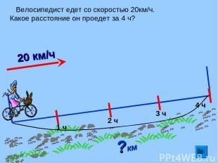 Велосипедист едет со скоростью 20км/ч. Какое расстояние он проедет за 4 ч? ?км 1