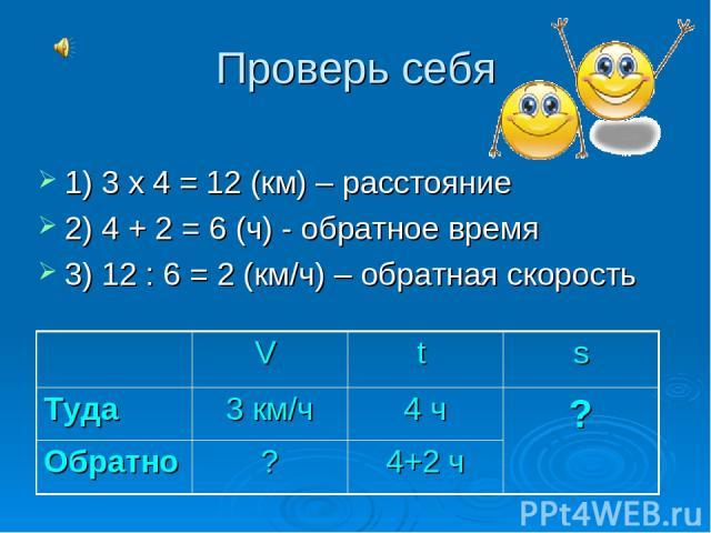 Проверь себя 1) 3 х 4 = 12 (км) – расстояние 2) 4 + 2 = 6 (ч) - обратное время 3) 12 : 6 = 2 (км/ч) – обратная скорость