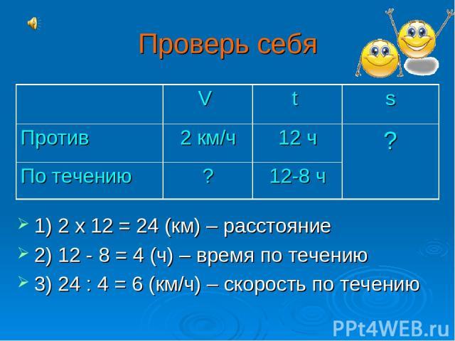 Проверь себя 1) 2 х 12 = 24 (км) – расстояние 2) 12 - 8 = 4 (ч) – время по течению 3) 24 : 4 = 6 (км/ч) – скорость по течению