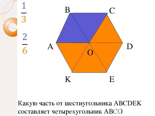 А В С D E K O Какую часть от шестиугольника АВСDEK составляет четырехугольник АВCО