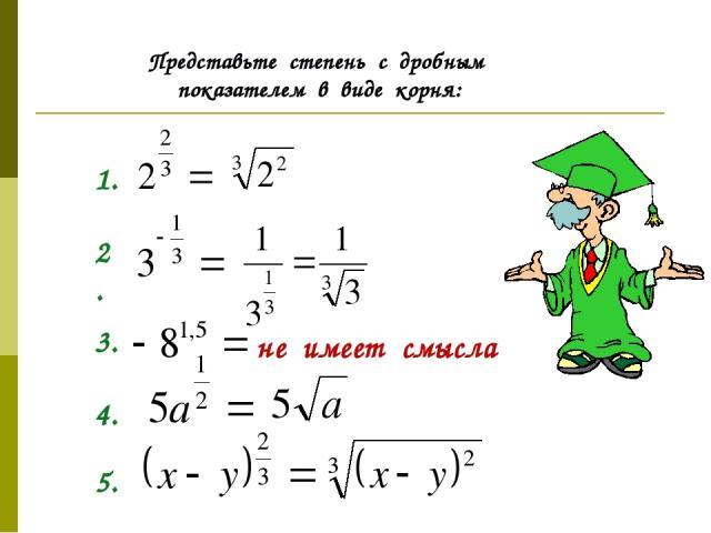 Представьте степень с дробным показателем в виде корня: 1. 2. 3. не имеет смысла 4. 5.