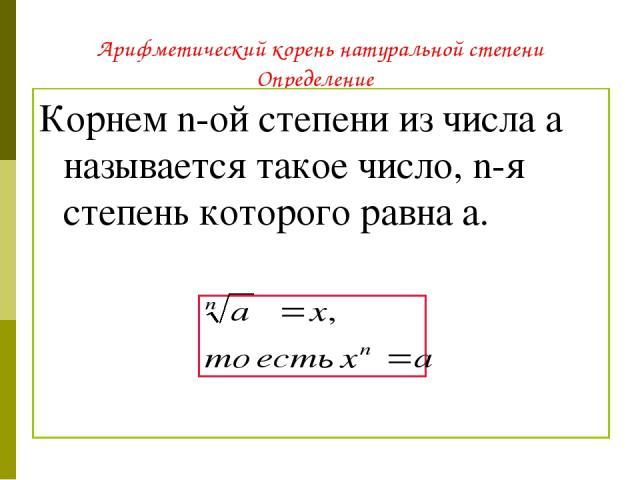 Арифметический корень натуральной степени Определение Корнем n-ой степени из числа a называется такое число, n-я степень которого равна a.