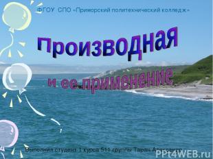 Выполнил студент 1 курса 511 группы Таран Александр ФГОУ СПО «Приморский политех